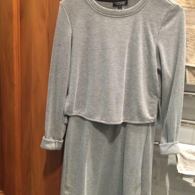 Grey 3/4 Sleeve Dress