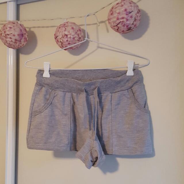 Grey Cotton Short Shorts