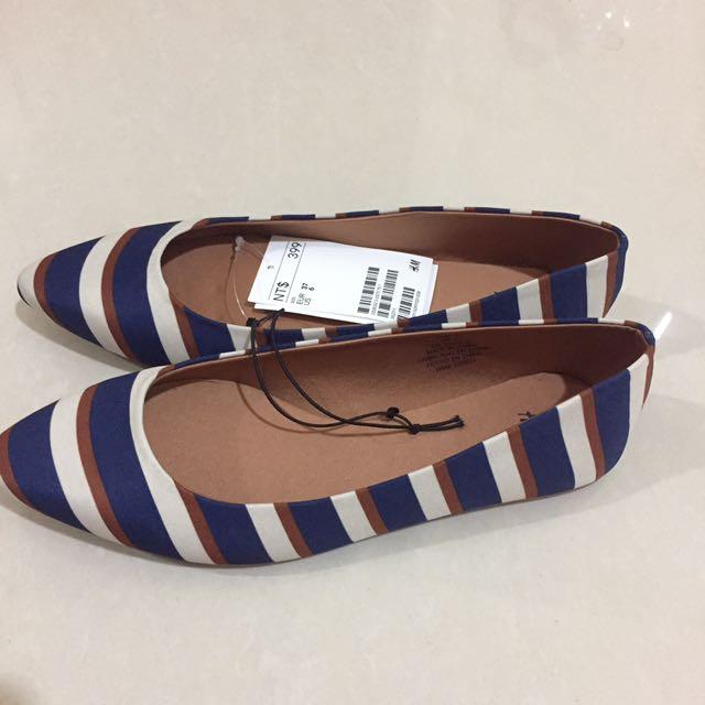 (全新)H&M條紋平底鞋