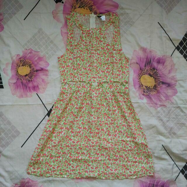 H&M Cut Out Floral Dress