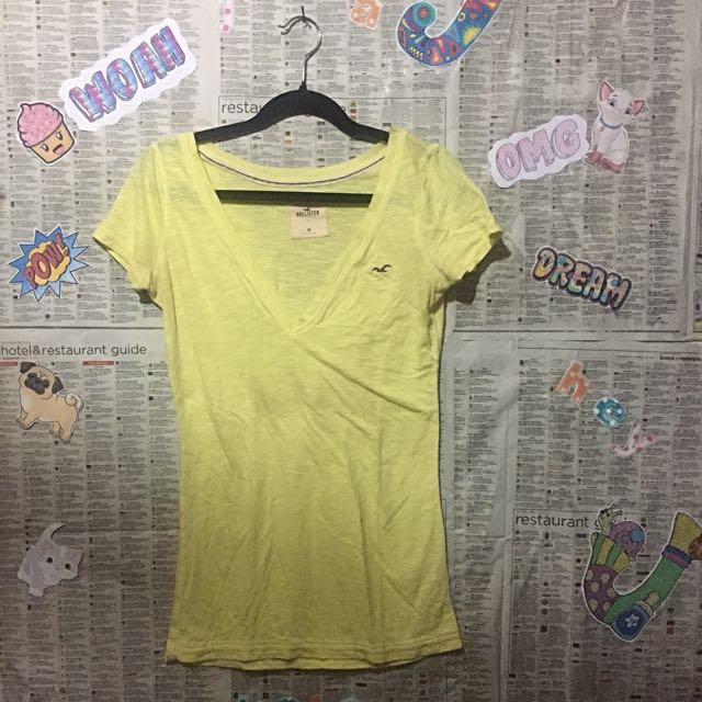 Hollister Yellow V Neck T - Shirt