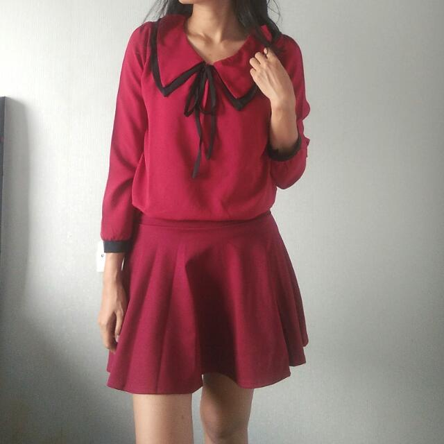 Japanese Sailor Red Blouse Top