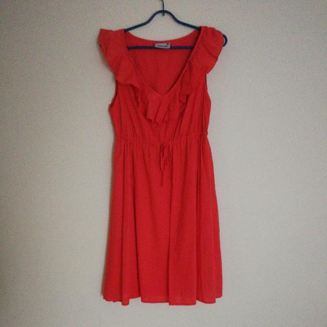 Jeans West Orange Coral Dress Sundress Size 8