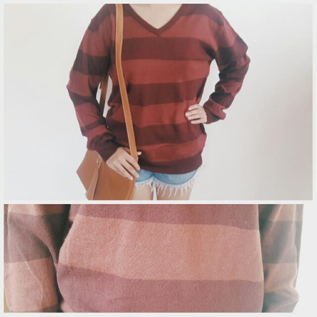 2f647b3546 Korean Style Oversized Red Striped Sweater