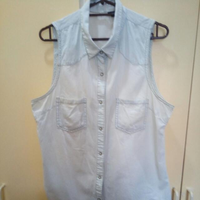 Light Denim Sleeveless Top With Front Knot