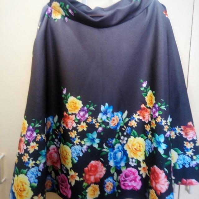 Midi Charcoal Floral Skirt