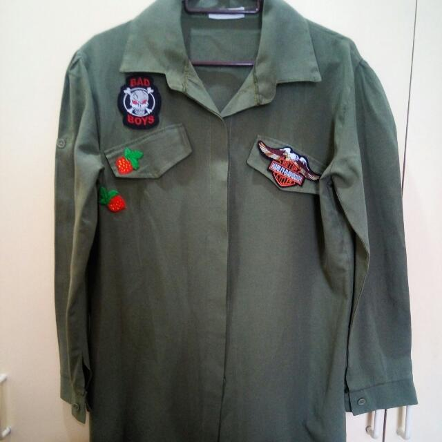 Military T-Shirt Dress With Patches