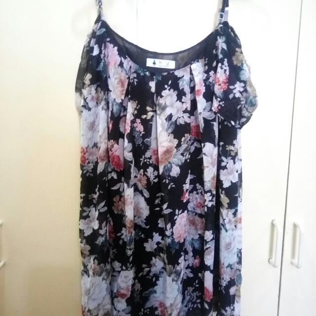 Off-shoulder Floral Chiffon Dress