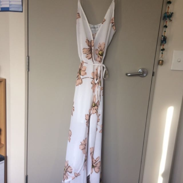 Oscar St Wrap around white maxi dress