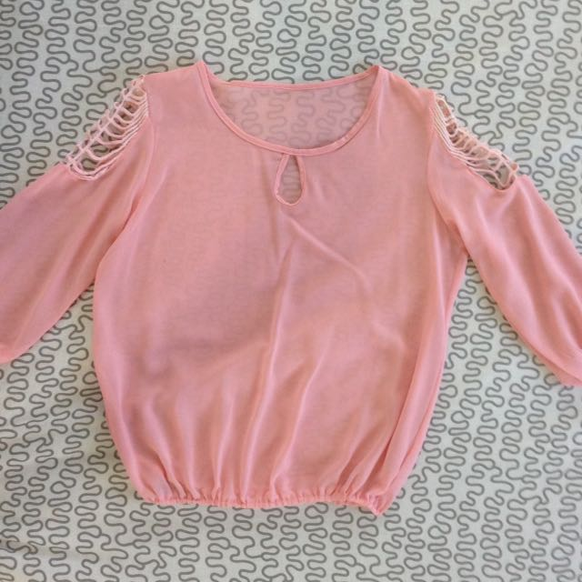 Pink Chiffon Blouse With Shoulder Detail