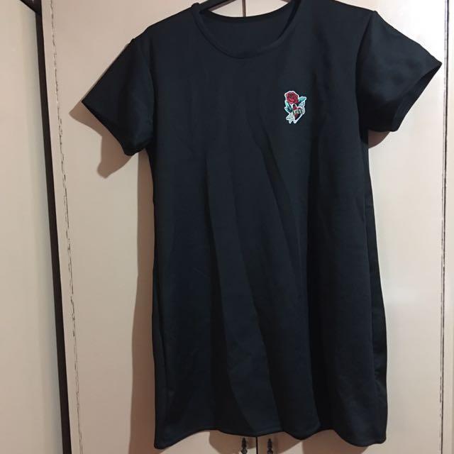 Plus Size Black With Single Love Rose Dress