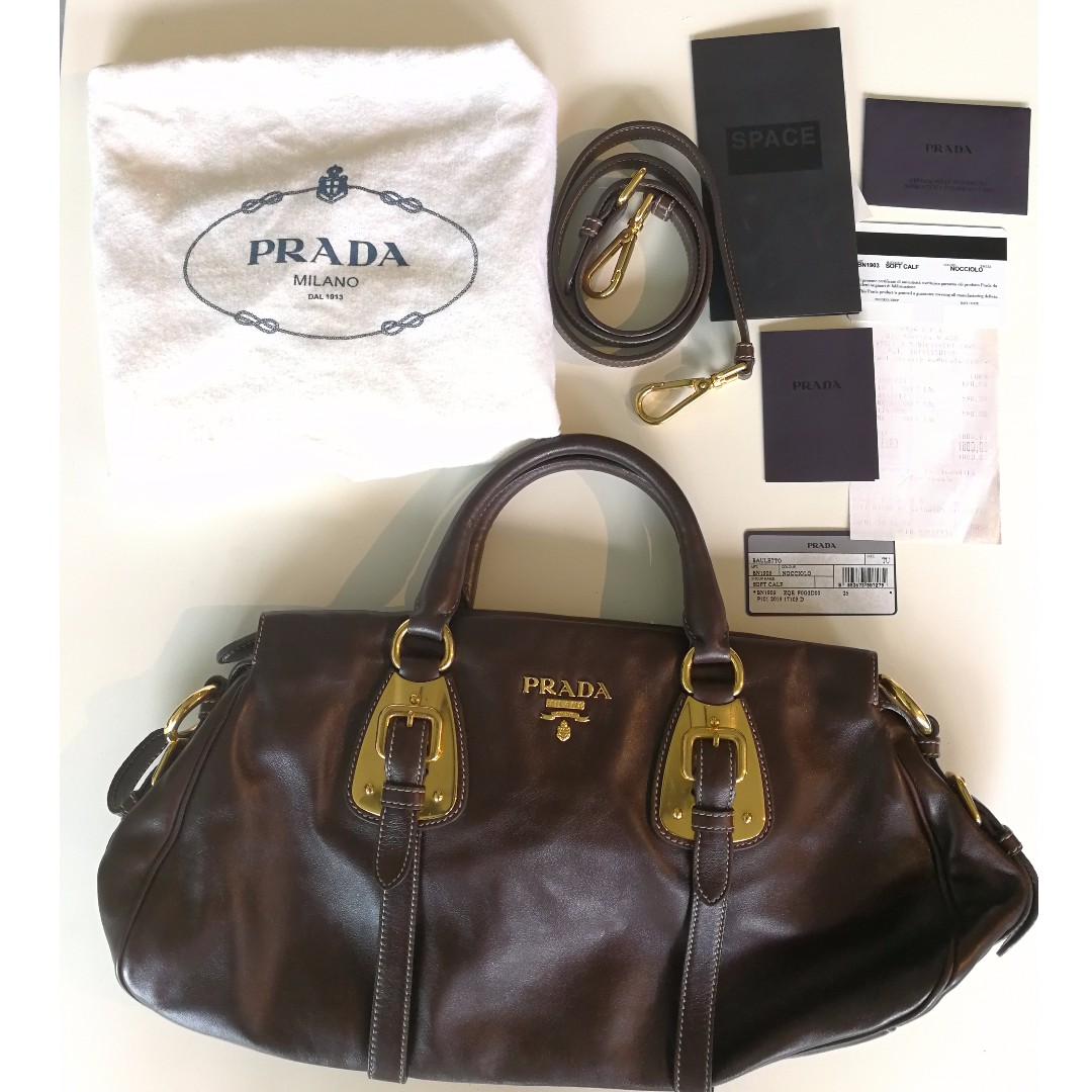 be40ce5acba2 ... promo code for prada bn1903 soft calf in nocciolo brown luxury bags  wallets 32f05 eabd5