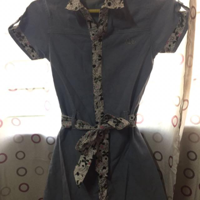 Preloved Elle Denim with Print Dress