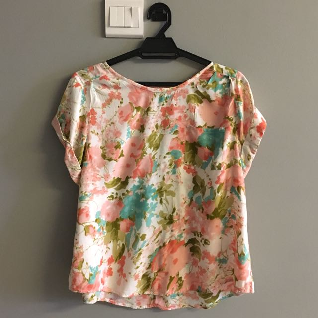 Primark UK Floral Pastel Top Peach