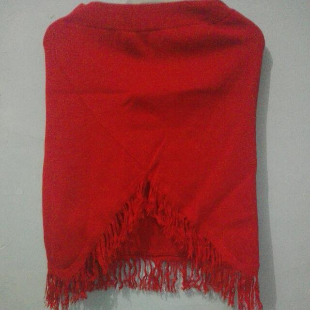 Red Wool Flare Skirt