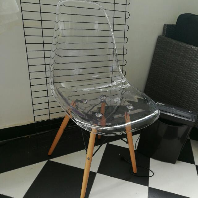 Replica Clear Transparent Chair Wooden Legs