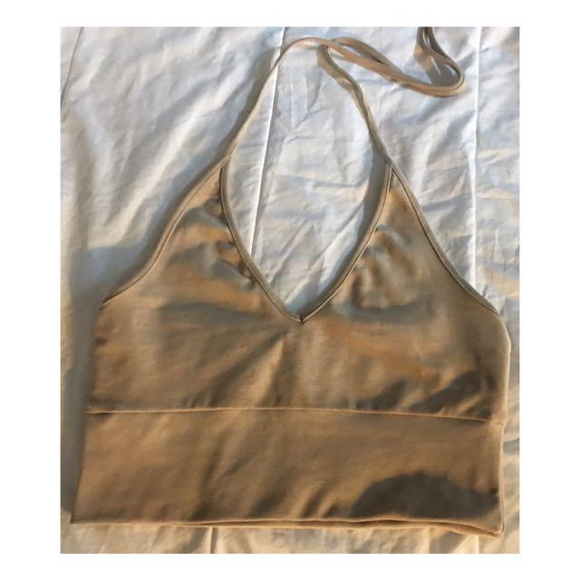 Sexy suede halter strap v-neck tank beige