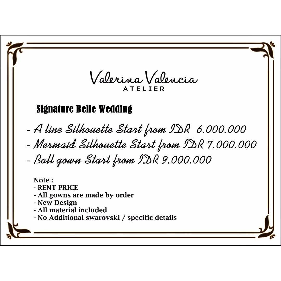 Signature Belle Wedding Pricelist