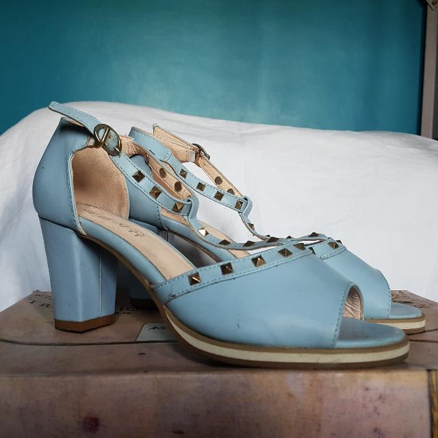 Studded Baby Blue Wedge