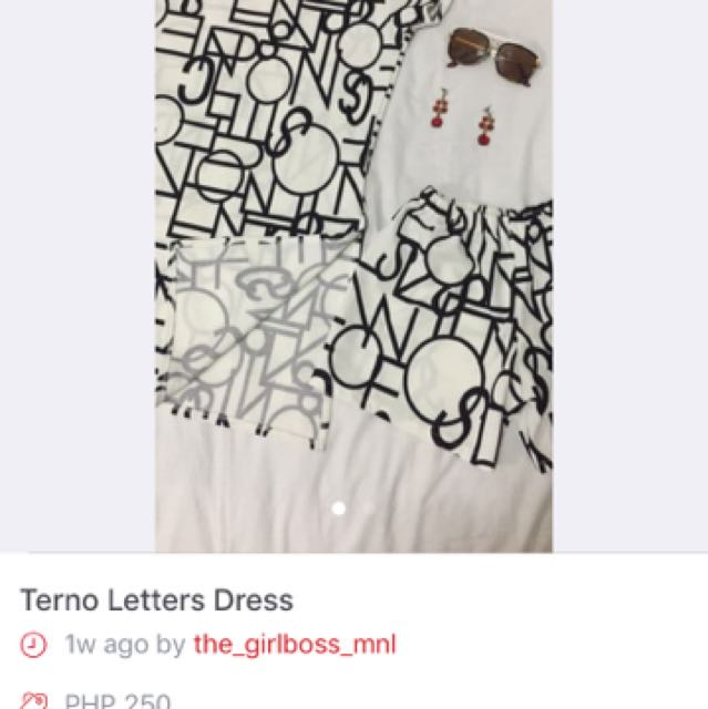 Terno Letter Design Dress With Shorts