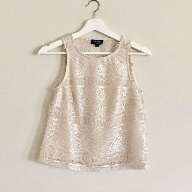 TOPSHOP Lace Top Size 8