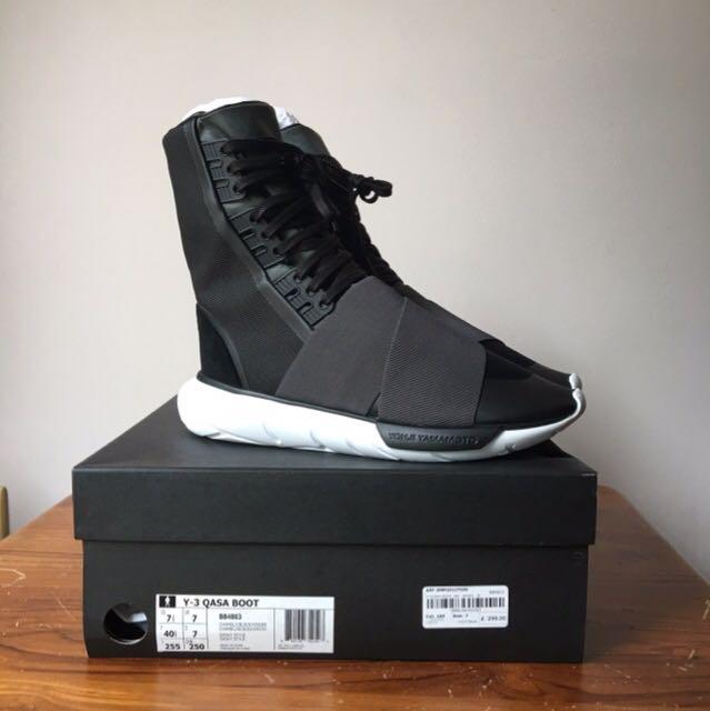 259c1f2109a51 UK7 Y3 Qasa Boot Black White