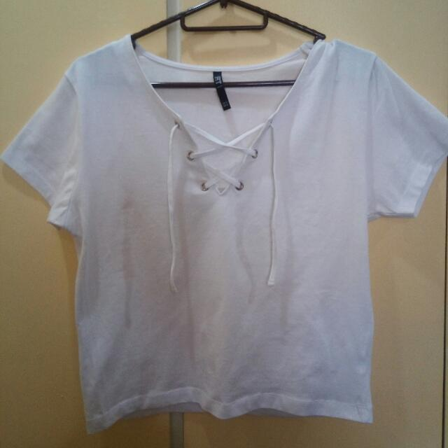 White Cotton Crop Top With Laces