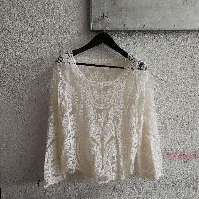 White Lace Top With Bell Sleeves