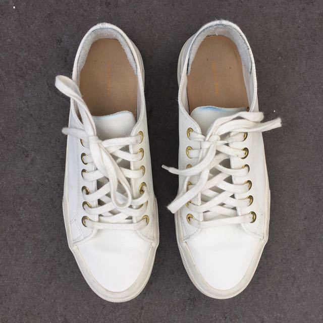 White Leather Decjuba Trainers - Size 8