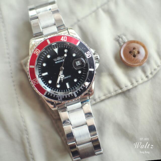 Winner 水鬼款經典黑紅圈手錶