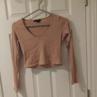 Beige/Pink Sweater Crop Top