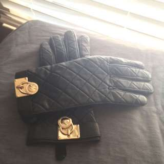 Michael Kors Women's Black Quilted Leather Gloves