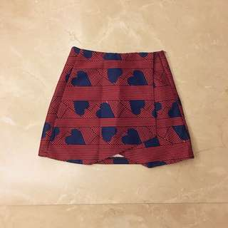Marc Jacobs Style Red Blue Hearts Skorts Shorts Skirt 紅色 藍色 心形 短裙褲