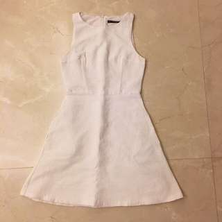 Zara White Ribbed One Piece Flare Dress OP 白色 連身裙 連衣裙 傘裙