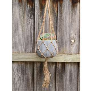 OUT OF STOCK Large Grey Concrete Hanging Planter with Natural Jute Macrame Hanger