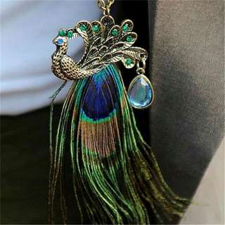 Peacock Feather Long Necklace