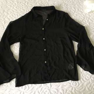 SISLEY sheer black Shirt With Wide Sleeves Size small.