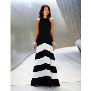 BN Black White Symmetric Stripes Long Dress