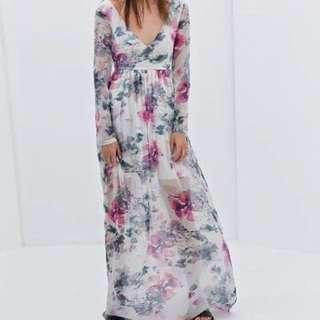 ZARA Long Sleeve Floral Pastel Maxi Dress
