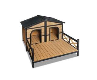 Double Pet Dog Kennel - Black