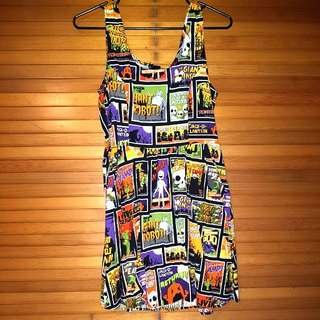 Horror Movie Halloween Theme Folter/Retrolicious Cotton Dress With Pockets Size L