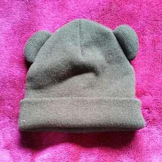 Cute Panda Ear Beanie Black Warm Winter