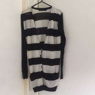 Long Stripey Cardigan Button Up Knit