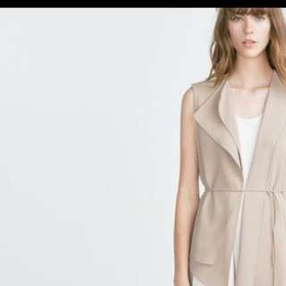 Zara Dusty Pink Waterfall Vest