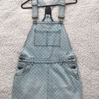 Cute Denim Polka Dot Skirt Overalls