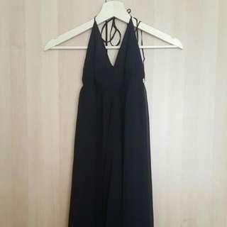 Long Black Halter Neck Open Back Dress