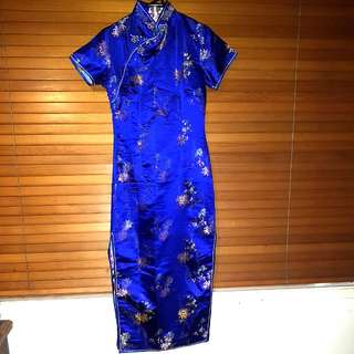 Blue Mandarin Collar Chinese Golden Dragon Dress With Side Splits Size L (Would Fit Size 10-12)