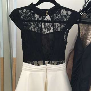 High Neck Black Lace & White Bottom Dress