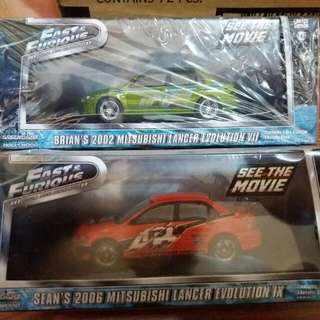 Greenlight Limited Edtion Fast And Furios 2002 And 2006 Lancer Evolution