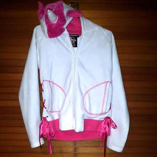 White/Pink Cupcake Cult Unicorn Hooded Jacket With Pockets And Side Ribbons Size M